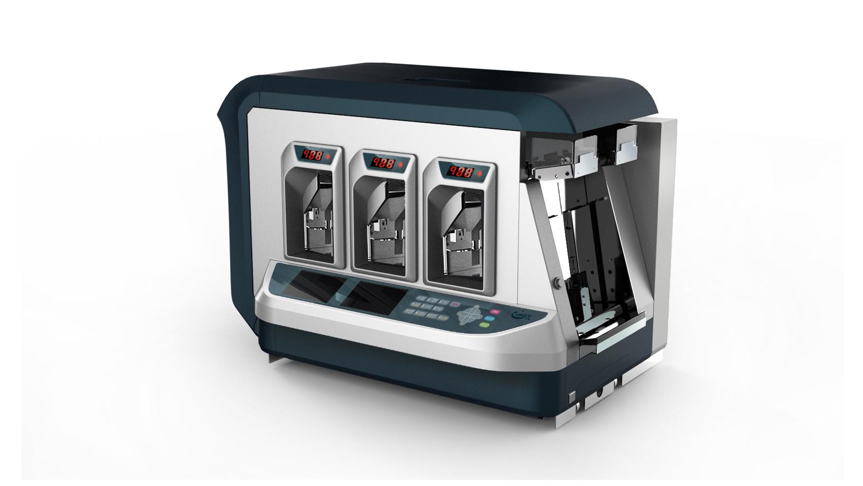 纸币清分机三口机_产品设计-来设计