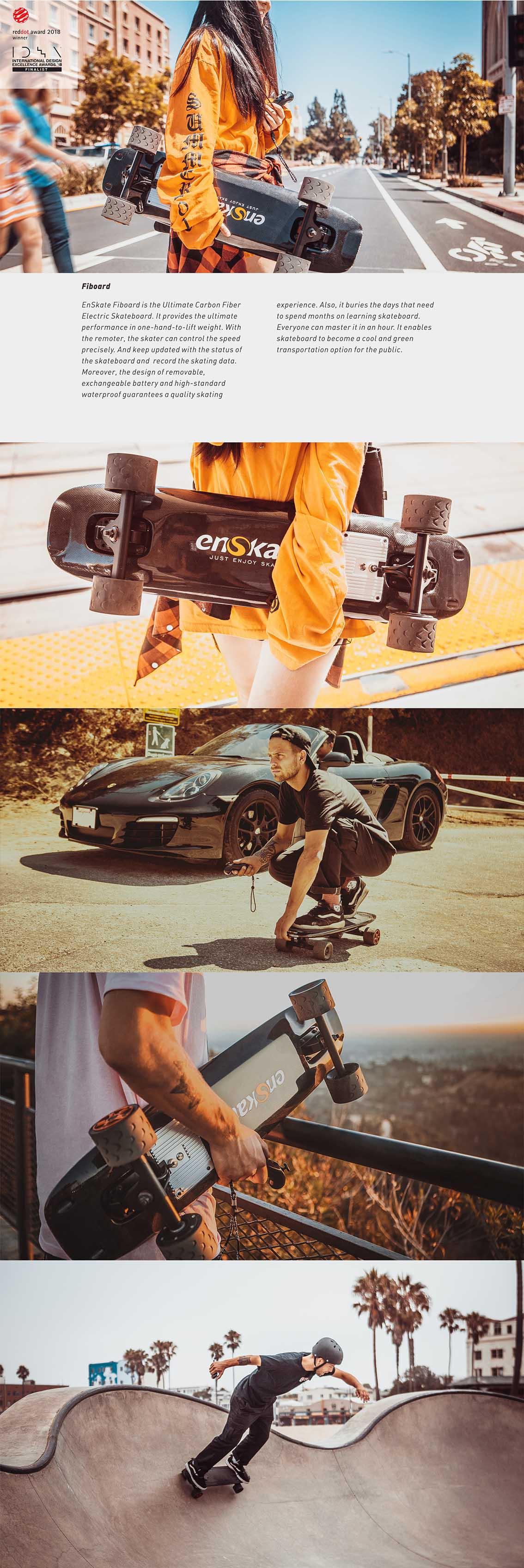 FIBOARD 智能碳纤维滑板_产品设计-来设计